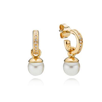 Creoler i 14 kt. guld med diamanter og perlevedhæng