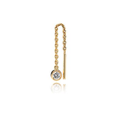 Kædeørering i 14 kt. guld med diamant